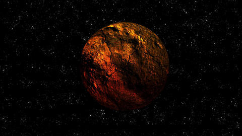 Orange and Red Cracked Planet on Starry Space Rotating Animation