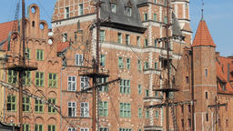 Medieval architecture in Gdansk, Poland and mast of old sailing galleon ship Footage