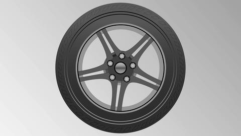 Spinning Car Wheel Tire and rim Animation