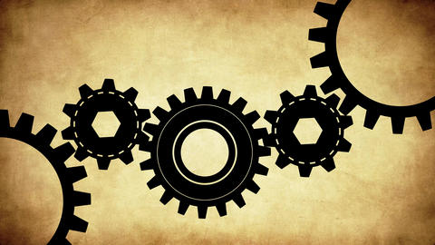 Black Gears Mechanism with old paper texture Animation