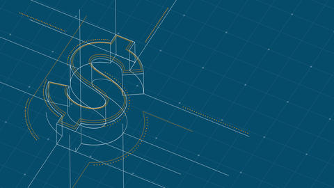 Currency USD (United States Dollars) isometric symbol dot and dash line frame structure pattern Animación