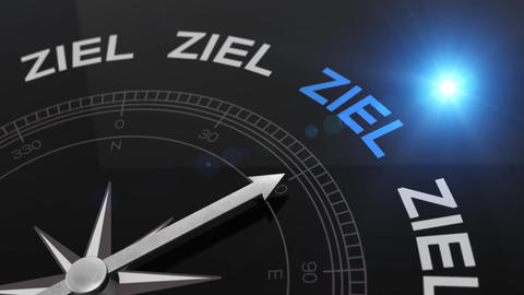 Compass with text - Ziel - german word for goal - right path, concept video for Animation