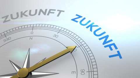 Compass with text - Zukunft - german word for future - right path, concept video Animation