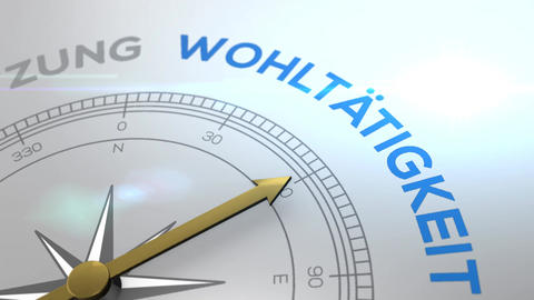 Compass with text - Woehltaetigkeit- german word for welfare - right path Animation