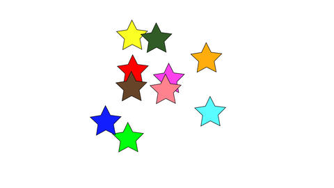 Coloured star shape confetti fly after being exploded against white background. Slow Motion Animation
