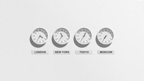 Clocks on a White Background with Time difference between important world places Animation