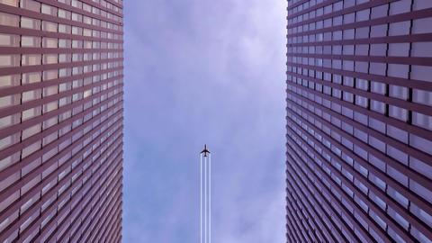 Plane flying above the skyscrapers Animation