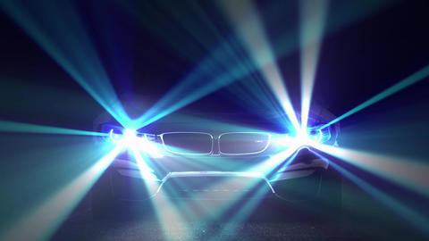 Car Turning On intense Xenon Lights Animación