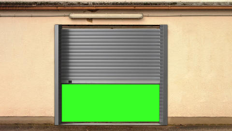 Metal Garage Door Opening with Green Screen Animation