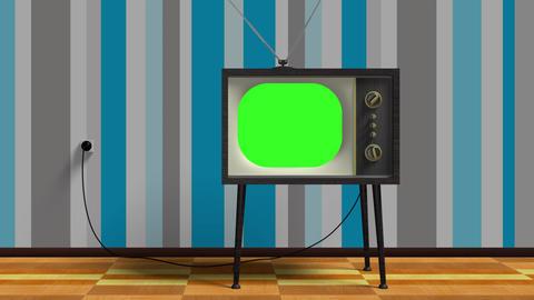 Green Screen Old Retro Tv Animation