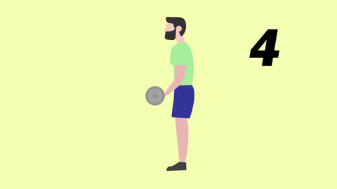 Man doing Biceps Workout Exercises Sport Animation CG動画素材