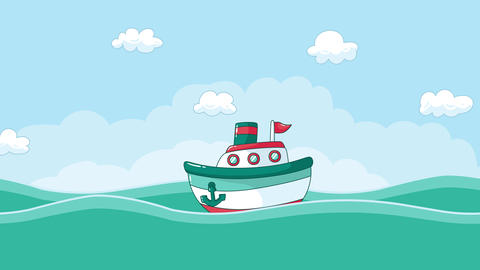 Cartoon Boat Animation on the sea with clouds CG動画素材