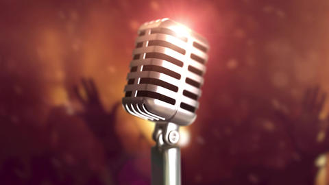 Retro microphone stage. Close up vintage microphone on stage. Old microphone on Animation