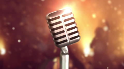 Retro microphone stage. Close up vintage microphone on... Stock Video Footage