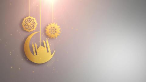 ramadan ramazan eid mubarak arabic symbols falling down on string white Animation