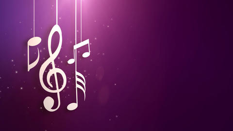 Music notes flowing hanging on strings and falling from… Stock Video Footage