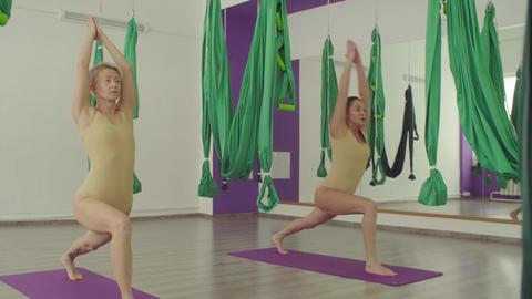 Two flexible women doing warm-up yoga exercises Live Action