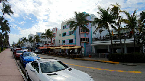 Miami Beach, USA - February 27, 2019: walking on world famous Ocean Drive in Sou Live Action