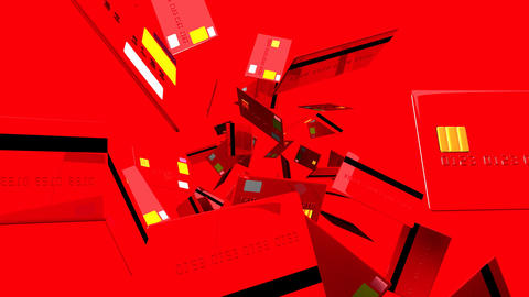 Red Credit cards on red background Stock Video Footage