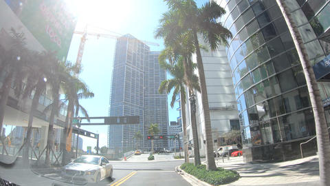 Miami, USA - February 27, 2019: driving in downtown Miami... Stock Video Footage