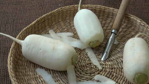 Japanese white radish. Healthy food Footage