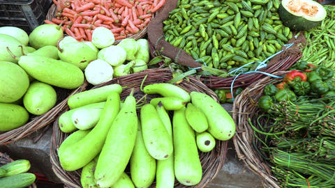 Colorful various of healthy fresh organic vegetables at traditional asian food Footage