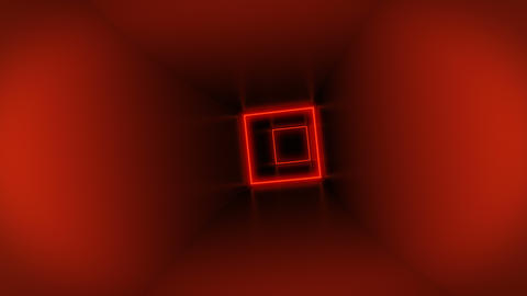 Flying through colorful cube tunnel neon squares Stock Video Footage