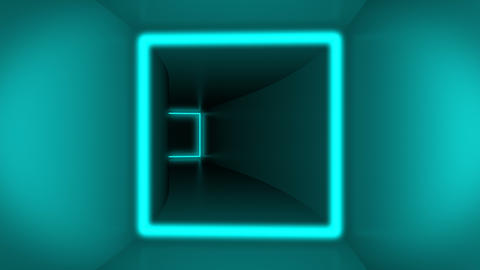 Flying through colorful cube tunnel neon squares Animation