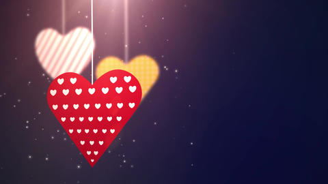 paper valentine hearts falling down hanging on string blue background Animation