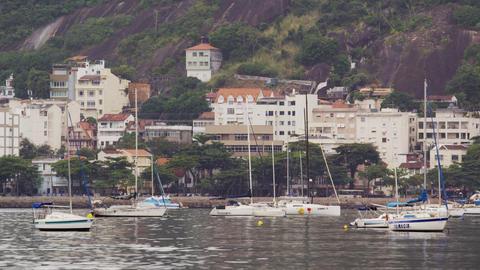 Boats at the coastline in Rio de Janeiro, Brazil Live Action