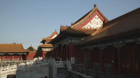 Wide shot of the Forbidden City in China Footage