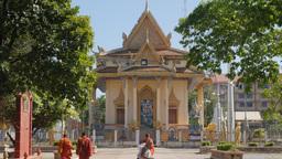 Monks walking towards wat Sanker,Battambang,Cambodia Footage