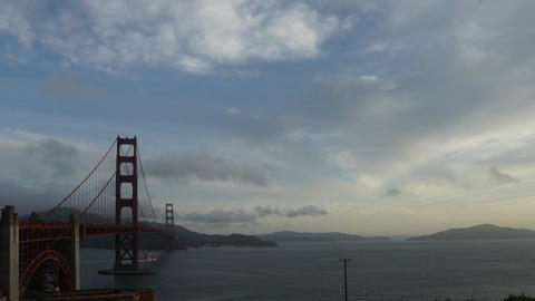 Rapidly moving cloud time lapse over Golden Gate Bridge Footage