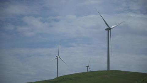 Three massive turbines in a Californian wind farm Footage