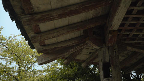 Old Japan style wooden arbor eaves Footage
