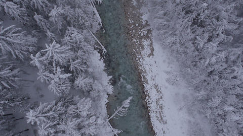 Aerial, vertical - River through the forest at a light snowing Footage