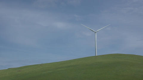 Single turbine in a Californian wind farm Footage