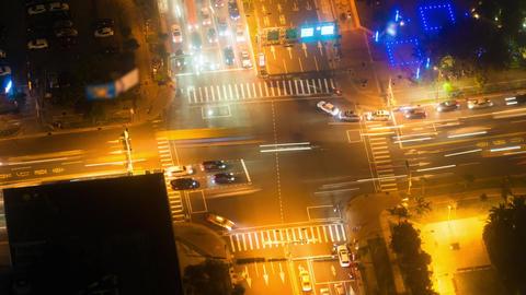 Night Modern City Traffic Timelapse Taipei Taiwan - Nighttime Aerial Bird's Ey Footage