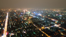 Aerial Night View Time Lapse of City of Taipei, Taiwan with Heavy Traffic Footage