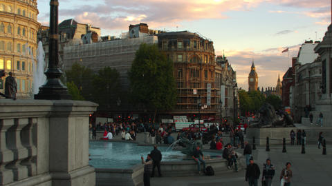 Trafalgar Square and Big Ben in the distance Footage