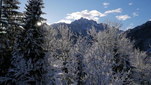 Aerial - Beautiful Alpine landscape on sunny morning Footage