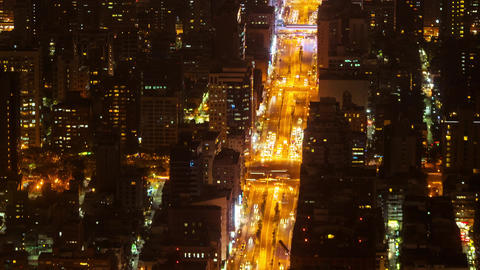 Aerial Night View Time Lapse City of Taipei, Taiwan with Heavy Traffic Closeup Footage