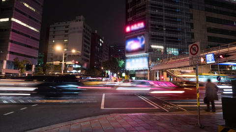 Busy Heavy City Traffic at Night Time Lapse in Taipei, Taiwan Live Action