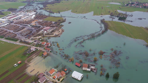 Aerial - Environmental damage by flooding. Urban landscape Footage