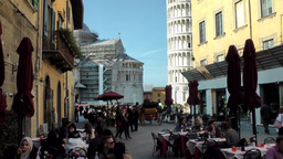 Italy Tuscany Tower of Pisa 27 restaurants in alley Footage
