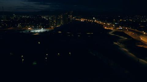 Aerial - Night shot of urban city at night Footage