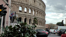 Italy Rome 098 Roman Colosseum and traffic lights Footage