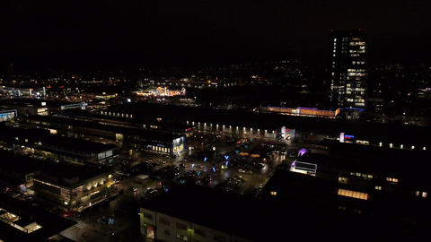 Aerial - Business, shopping, entertainment and cultural centre at night Footage