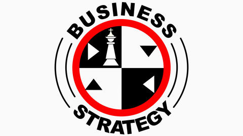 Business strategy animated emblem, circle logotype with chess theme, chess GIF