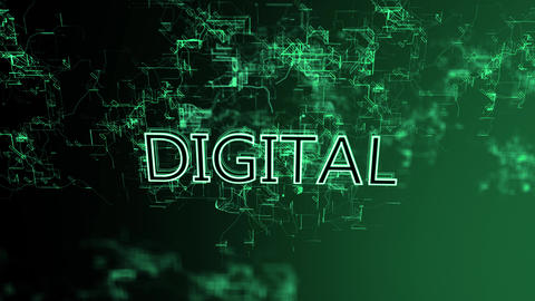 3D animation of the digital network. Text Digital Footage